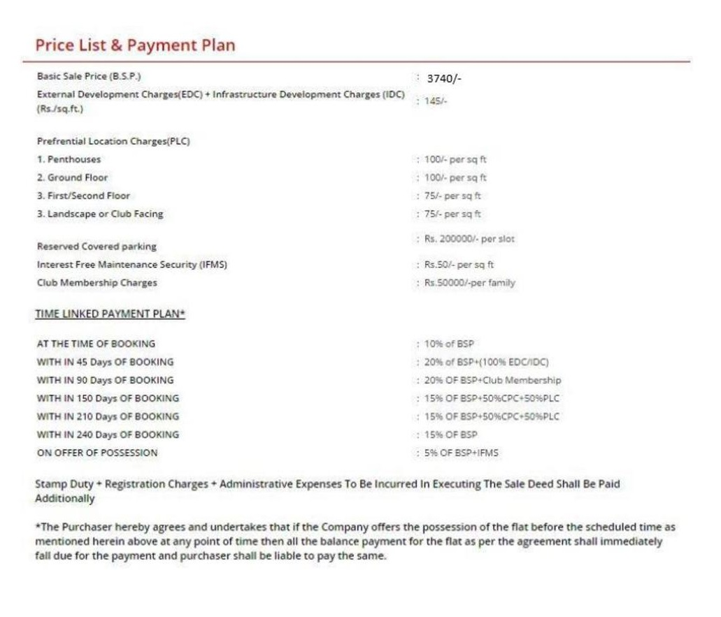 bptp grandeura price list